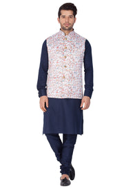Men's Blue Cotton Blend Kurta, Ethnic Jacket and Pyjama Set
