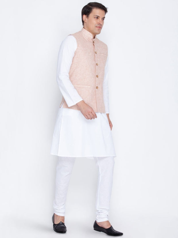 Men's Beige Linen Kurta, Ethnic Jacket and Pyjama Set