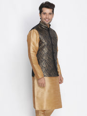 Men's Black Cotton Silk Blend Ethnic Jacket