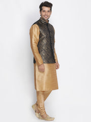 Men's Black Cotton Silk Blend Kurta, Ethnic Jacket and Pyjama Set
