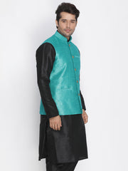 Men's Blue Cotton Silk Blend Ethnic Jacket