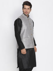 Men's Grey Cotton Silk Blend Ethnic Jacket