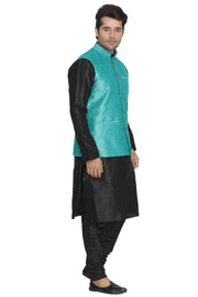 Men's Blue Cotton Silk Blend Kurta, Ethnic Jacket and Pyjama Set