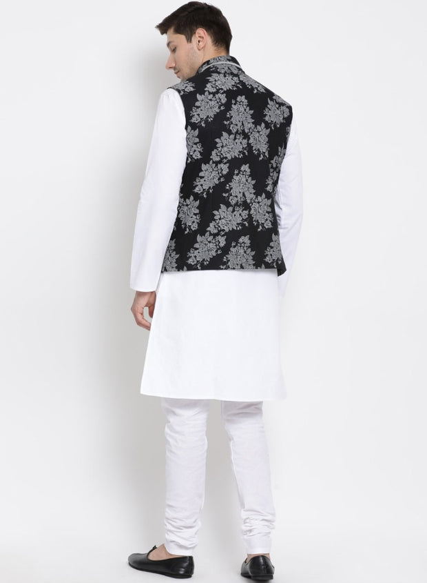 Men's White Cotton Blend Kurta, Ethnic Jacket and Pyjama Set