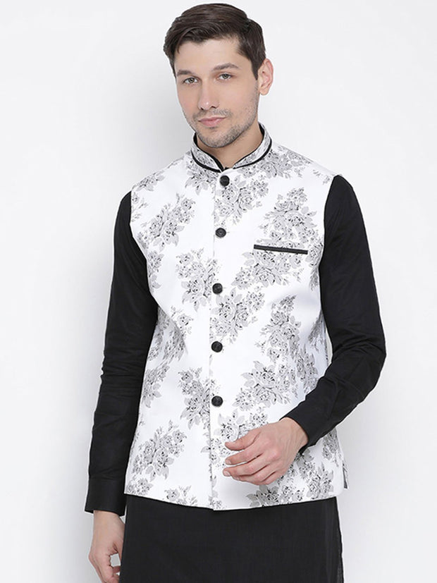 Men's White Cotton Blend Ethnic Jacket