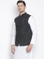 Men's Black Cotton Blend Ethnic Jacket