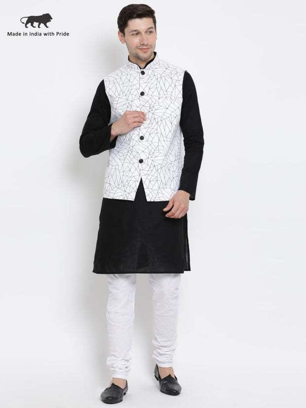 Men's Black Cotton Blend Kurta, Ethnic Jacket and Pyjama Set