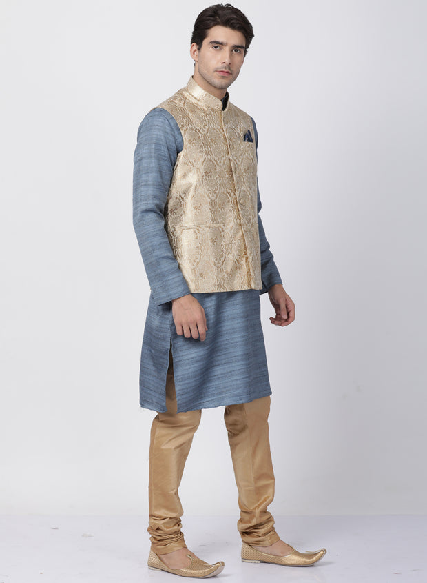 Men's Grey Cotton Silk Blend Kurta, Ethnic Jacket and Pyjama Set