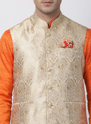 Men's Orange Cotton Silk Blend Kurta, Ethnic Jacket and Pyjama Set