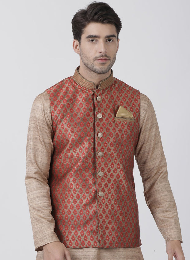 Men's Maroon Cotton Silk Blend Ethnic Jacket