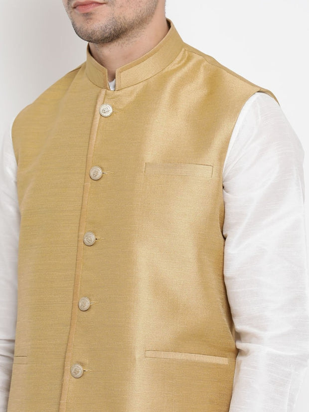 Men's Beige Cotton Silk Blend Ethnic Jacket