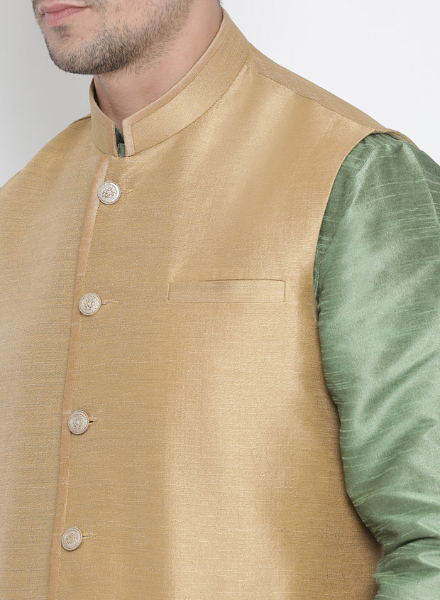 Men's Light Green Cotton Silk Blend Kurta, Ethnic Jacket and Pyjama Set
