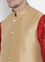 Men's Maroon Cotton Silk Blend Kurta, Ethnic Jacket and Pyjama Set