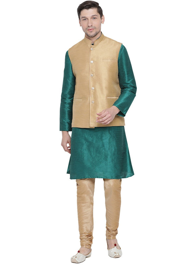 Men's Green Cotton Silk Blend Kurta, Ethnic Jacket and Pyjama Set