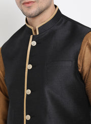 Men's Brown Cotton Silk Blend Kurta, Ethnic Jacket and Pyjama Set