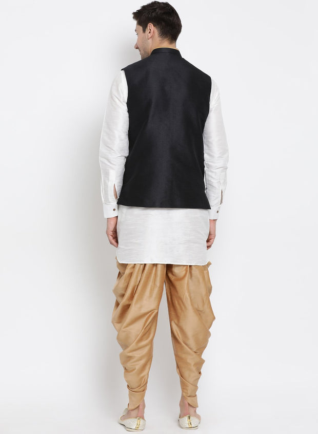 Men's White Cotton Silk Blend Ethnic Jacket, Kurta and Dhoti Pant Set