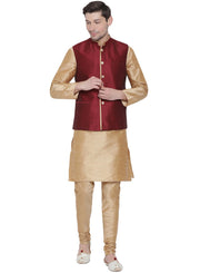 Men's Gold Cotton Silk Blend Kurta, Ethnic Jacket and Pyjama Set
