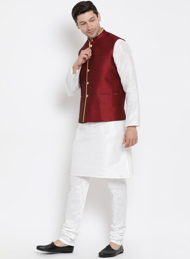 Men's White Cotton Silk Blend Kurta, Ethnic Jacket and Pyjama Set