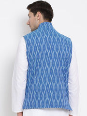 Men's Blue Cotton Ethnic Jacket