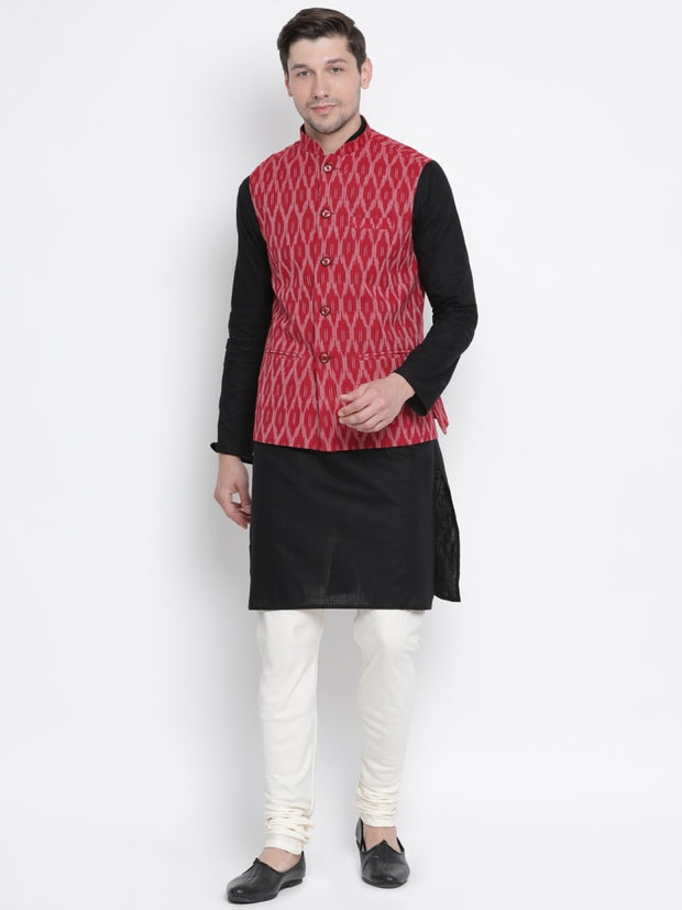 Men's Maroon Cotton Ethnic Jacket
