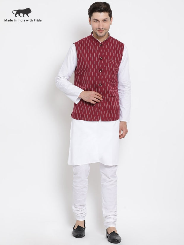 Men's White Cotton Kurta, Ethnic Jacket and Pyjama Set