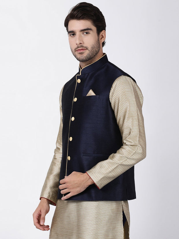 Men's Dark Blue Cotton Silk Blend Ethnic Jacket