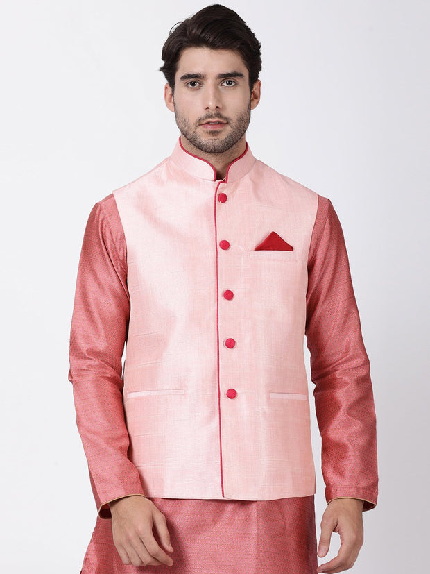 Men's Pink Cotton Silk Blend Ethnic Jacket
