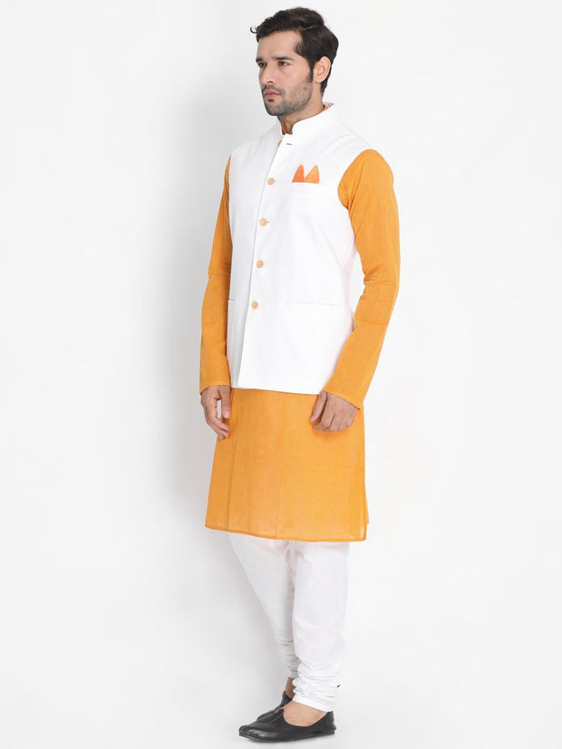 Men's Yellow Cotton Blend Kurta, Ethnic Jacket and Pyjama Set