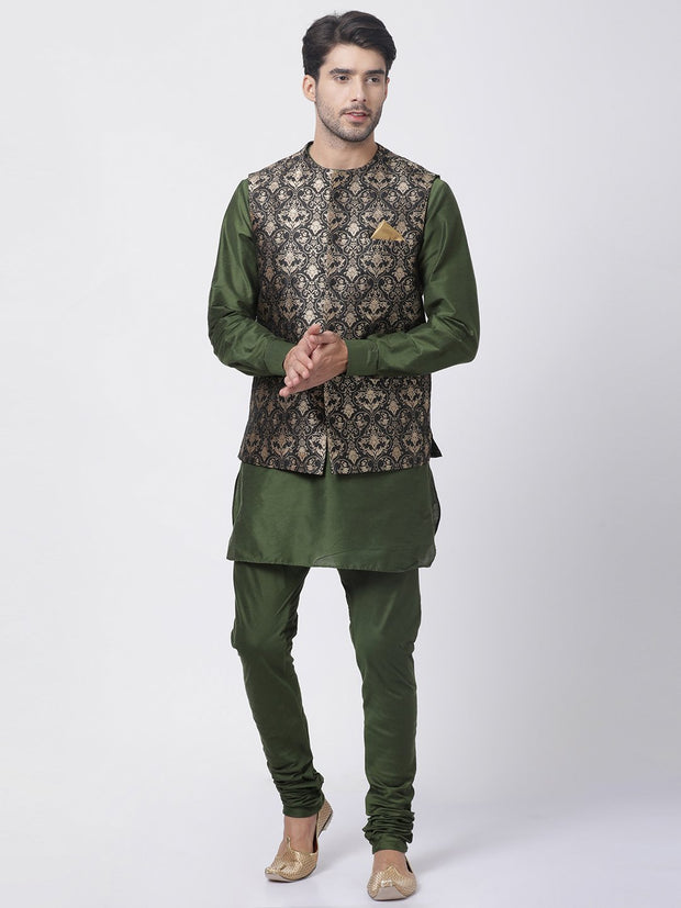 Men's Green Cotton Silk Blend Ethnic Jacket, Kurta and Dhoti Pant Set