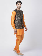 Men's Orange Cotton Silk Blend Ethnic Jacket, Kurta and Dhoti Pant Set