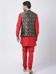 Men's Red Cotton Silk Blend Ethnic Jacket, Kurta and Dhoti Pant Set