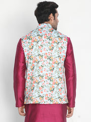Men's Light Green Silk Blend Ethnic Jacket