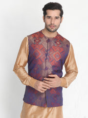 Men's Orange Silk Blend Ethnic Jacket