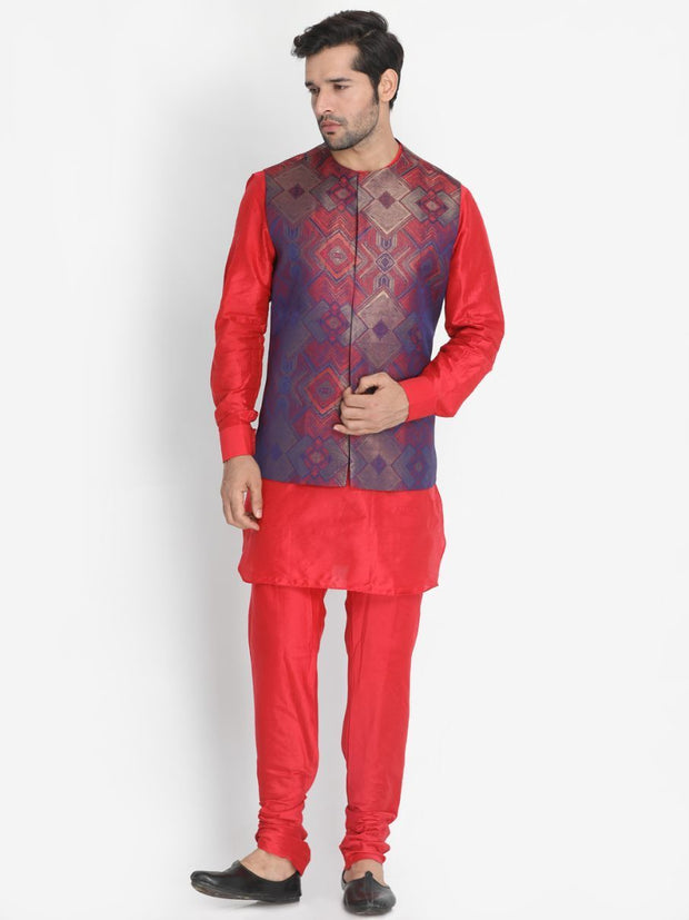 Men's Red Silk Blend Ethnic Jacket