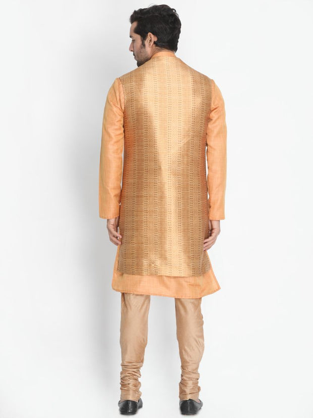 Men's Pink Cotton Silk Blend Kurta, Ethnic Jacket and Pyjama Set