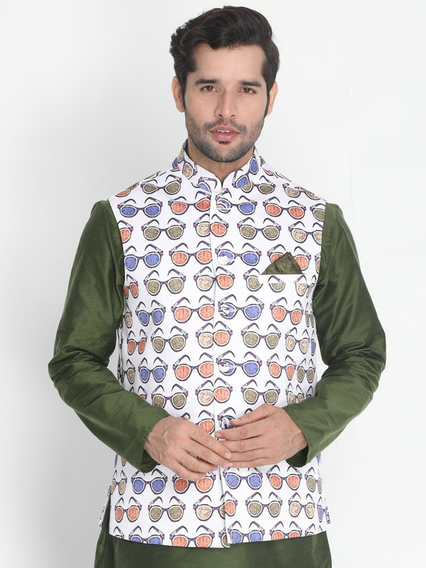 Men's Multicolor Silk Blend Ethnic Jacket