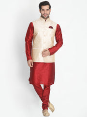 Men's Beige Silk Blend Ethnic Jacket