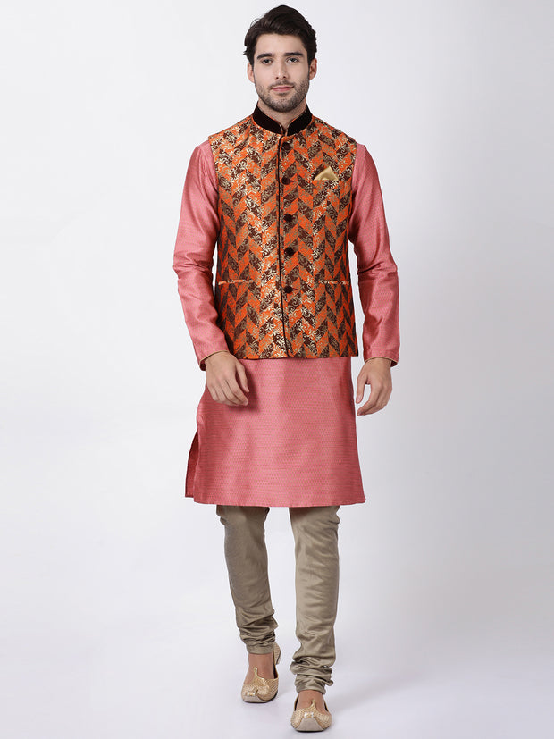 Men's Orange Cotton Silk Blend Ethnic Jacket