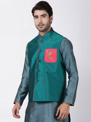 Men's Green Cotton Silk Blend Ethnic Jacket