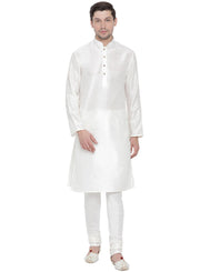 Men's White Cotton Silk Blend Kurta and Pyjama Set