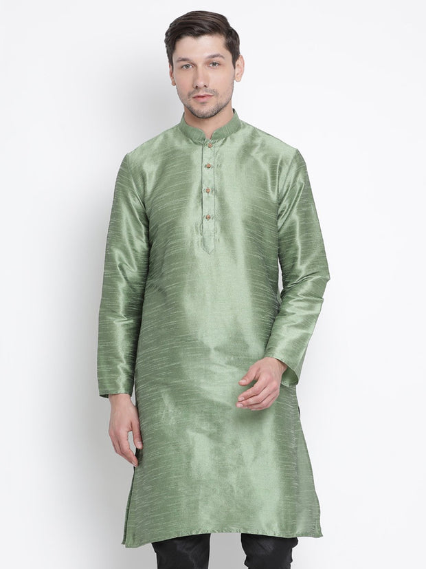 Men's Light Green Cotton Silk Blend Kurta