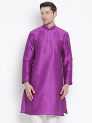 Men's Purple Cotton Silk Blend Kurta