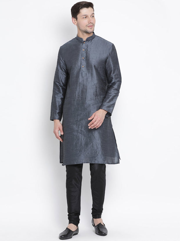 Men's Grey Cotton Silk Blend Kurta and Pyjama Set