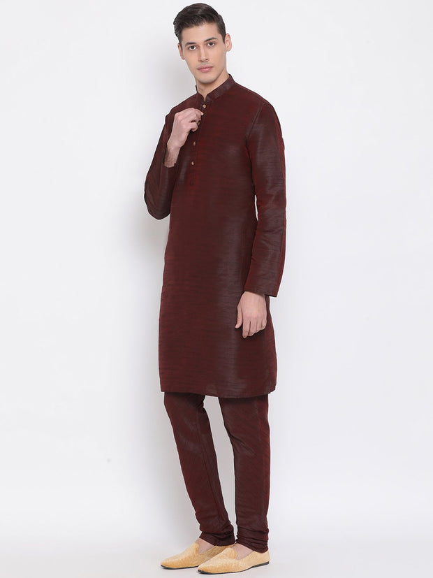 Men's Burgundy Silk Blend Kurta and Pyjama Set