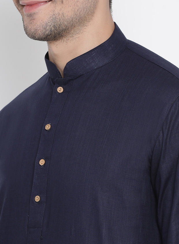 Men's Dark Blue Cotton Kurta and Pyjama Set