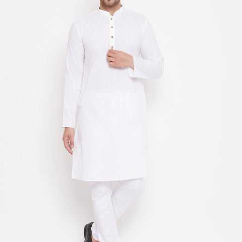 Vastramay Men's White Cotton Linen Blend Kurta Pyjama Set