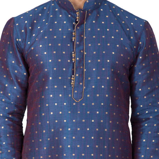 Men's Blue Cotton Silk Blend Kurta and Pyjama Set
