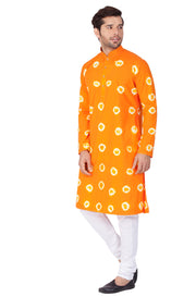 Men's Orange Cotton Kurta and Pyjama Set