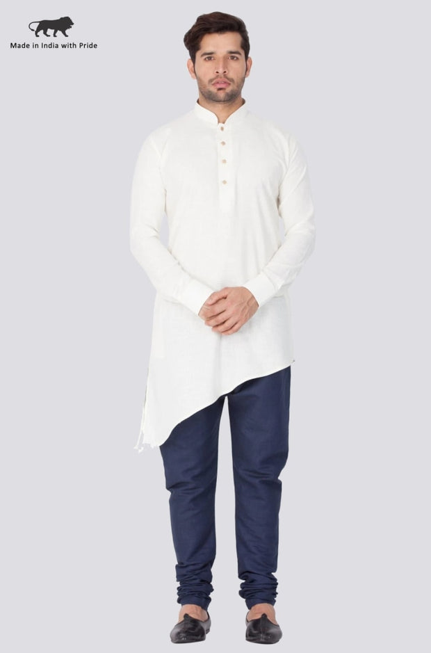 Men's Beige Linen Kurta and Pyjama Set