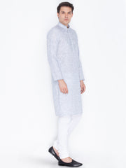 Men's Blue Linen Kurta and Pyjama Set